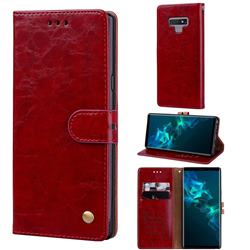 Luxury Retro Oil Wax PU Leather Wallet Phone Case for Samsung Galaxy Note9 - Brown Red