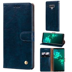 Luxury Retro Oil Wax PU Leather Wallet Phone Case for Samsung Galaxy Note9 - Sapphire