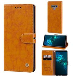 Luxury Retro Oil Wax PU Leather Wallet Phone Case for Samsung Galaxy Note9 - Orange Yellow