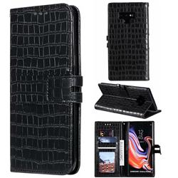 Luxury Crocodile Magnetic Leather Wallet Phone Case for Samsung Galaxy Note9 - Black
