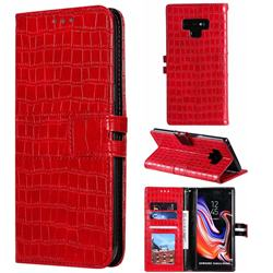 Luxury Crocodile Magnetic Leather Wallet Phone Case for Samsung Galaxy Note9 - Red