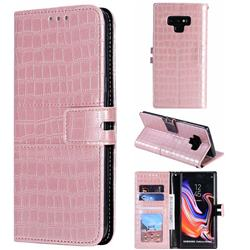 Luxury Crocodile Magnetic Leather Wallet Phone Case for Samsung Galaxy Note9 - Rose Gold