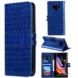 Luxury Crocodile Magnetic Leather Wallet Phone Case for Samsung Galaxy Note9 - Blue