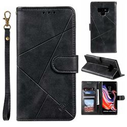 Embossing Geometric Leather Wallet Case for Samsung Galaxy Note9 - Black