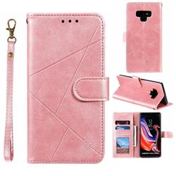Embossing Geometric Leather Wallet Case for Samsung Galaxy Note9 - Rose Gold