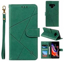 Embossing Geometric Leather Wallet Case for Samsung Galaxy Note9 - Green