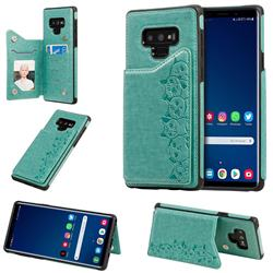 Yikatu Luxury Cute Cats Multifunction Magnetic Card Slots Stand Leather Back Cover for Samsung Galaxy Note9 - Green