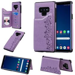 Yikatu Luxury Cute Cats Multifunction Magnetic Card Slots Stand Leather Back Cover for Samsung Galaxy Note9 - Purple