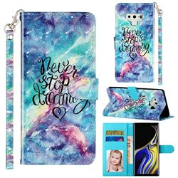 Blue Starry Sky 3D Leather Phone Holster Wallet Case for Samsung Galaxy Note9