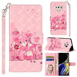 Pink Bear 3D Leather Phone Holster Wallet Case for Samsung Galaxy Note9