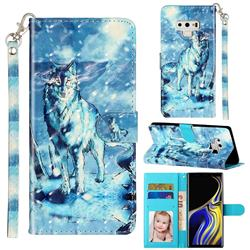 Snow Wolf 3D Leather Phone Holster Wallet Case for Samsung Galaxy Note9