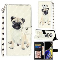 Pug Dog 3D Leather Phone Holster Wallet Case for Samsung Galaxy Note9