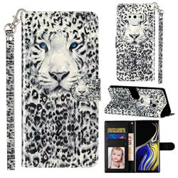 White Leopard 3D Leather Phone Holster Wallet Case for Samsung Galaxy Note9