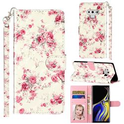 Rambler Rose Flower 3D Leather Phone Holster Wallet Case for Samsung Galaxy Note9