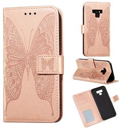 Intricate Embossing Vivid Butterfly Leather Wallet Case for Samsung Galaxy Note9 - Rose Gold