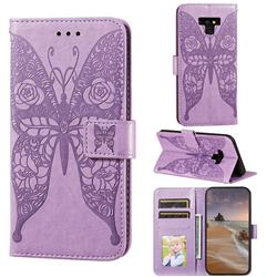 Intricate Embossing Rose Flower Butterfly Leather Wallet Case for Samsung Galaxy Note9 - Purple