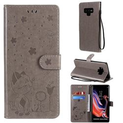 Embossing Bee and Cat Leather Wallet Case for Samsung Galaxy Note9 - Gray