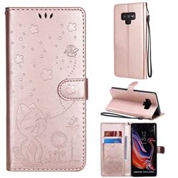 Embossing Bee and Cat Leather Wallet Case for Samsung Galaxy Note9 - Rose Gold