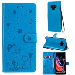 Embossing Bee and Cat Leather Wallet Case for Samsung Galaxy Note9 - Blue