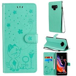 Embossing Bee and Cat Leather Wallet Case for Samsung Galaxy Note9 - Green