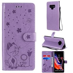 Embossing Bee and Cat Leather Wallet Case for Samsung Galaxy Note9 - Purple