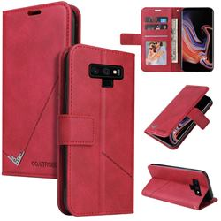 GQ.UTROBE Right Angle Silver Pendant Leather Wallet Phone Case for Samsung Galaxy Note9 - Red
