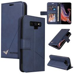 GQ.UTROBE Right Angle Silver Pendant Leather Wallet Phone Case for Samsung Galaxy Note9 - Blue