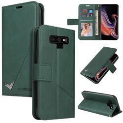 GQ.UTROBE Right Angle Silver Pendant Leather Wallet Phone Case for Samsung Galaxy Note9 - Green