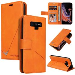 GQ.UTROBE Right Angle Silver Pendant Leather Wallet Phone Case for Samsung Galaxy Note9 - Orange