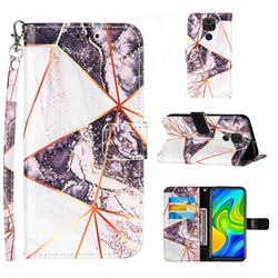 Black and White Stitching Color Marble Leather Wallet Case for Samsung Galaxy Note9