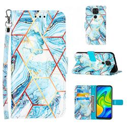 Lake Blue Stitching Color Marble Leather Wallet Case for Samsung Galaxy Note9