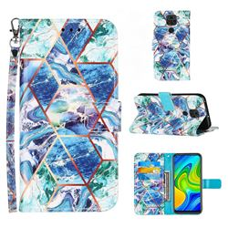 Green and Blue Stitching Color Marble Leather Wallet Case for Samsung Galaxy Note9
