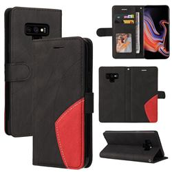 Luxury Two-color Stitching Leather Wallet Case Cover for Samsung Galaxy Note9 - Black