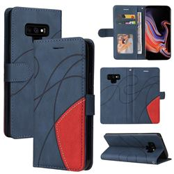 Luxury Two-color Stitching Leather Wallet Case Cover for Samsung Galaxy Note9 - Blue