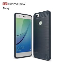 Luxury Carbon Fiber Brushed Wire Drawing Silicone TPU Back Cover for Huawei Nova (Navy)