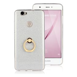 Luxury Soft TPU Glitter Back Ring Cover with 360 Rotate Finger Holder Buckle for Huawei Nova - White