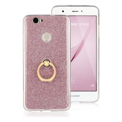 Luxury Soft TPU Glitter Back Ring Cover with 360 Rotate Finger Holder Buckle for Huawei Nova - Pink