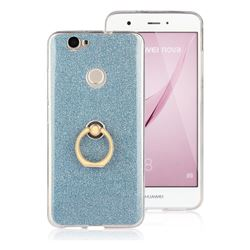 Luxury Soft TPU Glitter Back Ring Cover with 360 Rotate Finger Holder Buckle for Huawei Nova - Blue