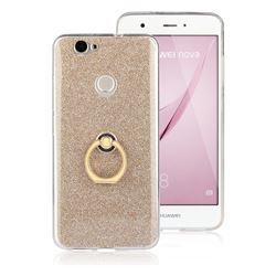 Luxury Soft TPU Glitter Back Ring Cover with 360 Rotate Finger Holder Buckle for Huawei Nova - Golden