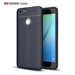 Luxury Auto Focus Litchi Texture Silicone TPU Back Cover for Huawei Nova - Dark Blue