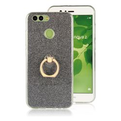 Luxury Soft TPU Glitter Back Ring Cover with 360 Rotate Finger Holder Buckle for Huawei Nova 2 - Black