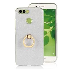 Luxury Soft TPU Glitter Back Ring Cover with 360 Rotate Finger Holder Buckle for Huawei Nova 2 - White