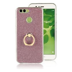 Luxury Soft TPU Glitter Back Ring Cover with 360 Rotate Finger Holder Buckle for Huawei Nova 2 - Pink