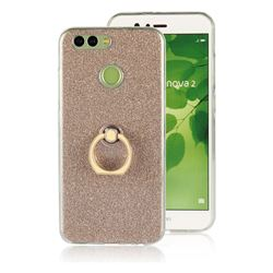 Luxury Soft TPU Glitter Back Ring Cover with 360 Rotate Finger Holder Buckle for Huawei Nova 2 - Golden