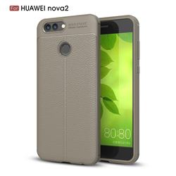 Luxury Auto Focus Litchi Texture Silicone TPU Back Cover for Huawei Nova 2 - Gray