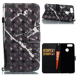 Black Marble 3D Painted Leather Wallet Case for Huawei Nova 2