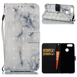 White Gray Marble 3D Painted Leather Wallet Case for Huawei Nova 2