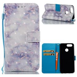 Green Gray Marble 3D Painted Leather Wallet Case for Huawei Nova 2
