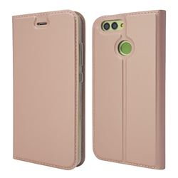 Ultra Slim Card Magnetic Automatic Suction Leather Wallet Case for Huawei Nova 2 - Rose Gold