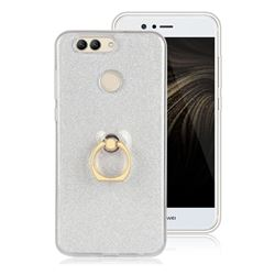 Luxury Soft TPU Glitter Back Ring Cover with 360 Rotate Finger Holder Buckle for Huawei Nova 2 Plus - White